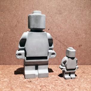 Concrete X-Large Lego Man - Concrete With Magnet - 58X92X23mm THK. - 0.140KG