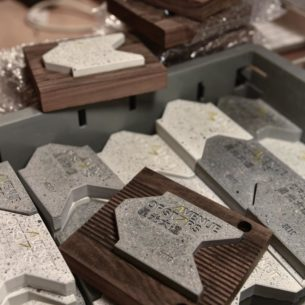 The miniature paver is made from the same materials as the new pavers being used on the Avenue, and the wooden case is made from recycled timber planks formerly used in the promenade – a juxtaposition of old and new, just like the Avenue of Stars itself!